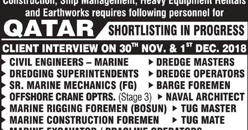 Marine Construction Jobs in Qatar - Large Number of