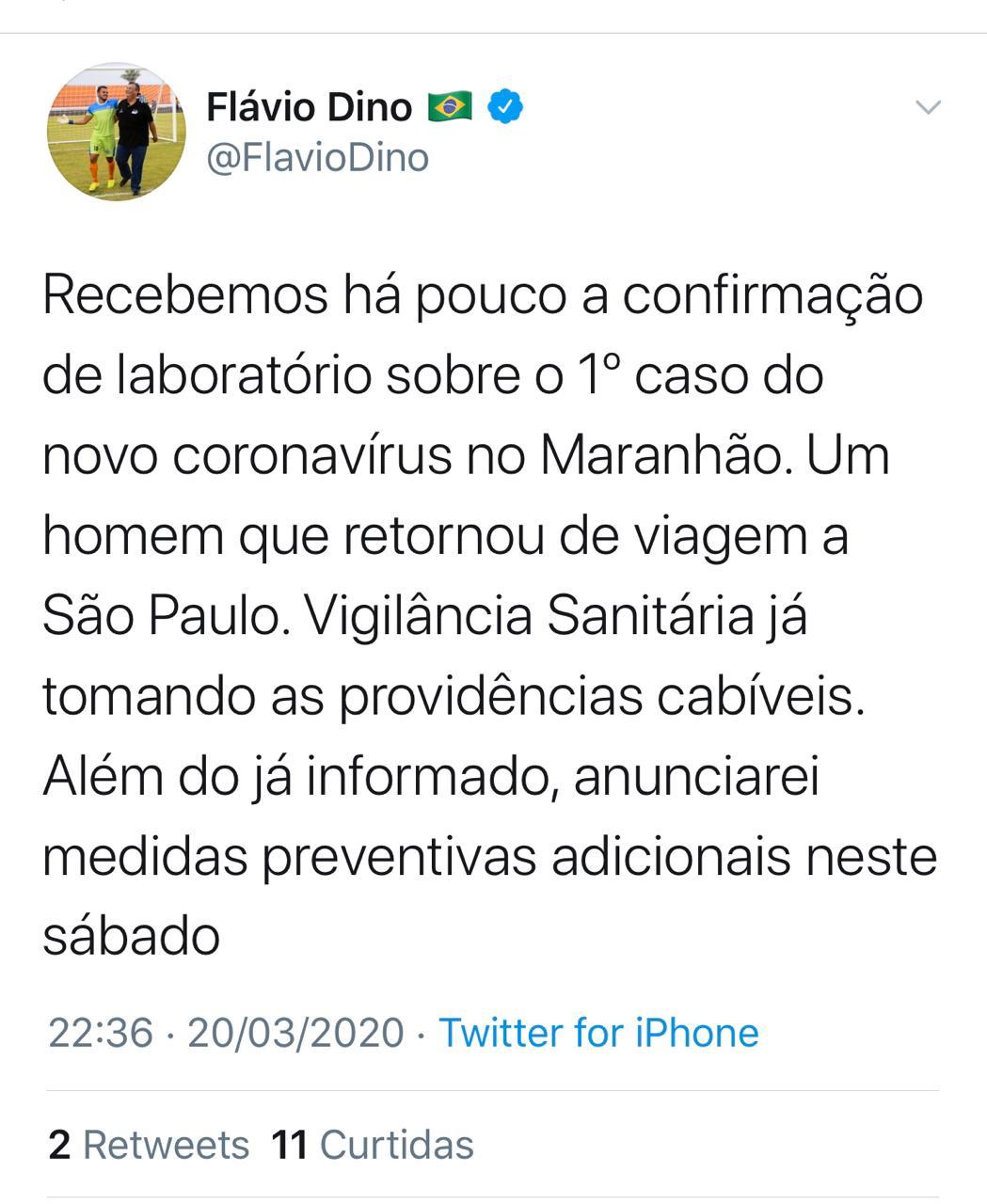 URGENTE! Flavio Dino confirma o primeiro caso do novo coronavírus no Maranhão