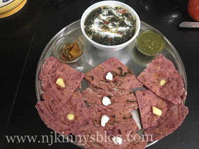 Beetroot Laccha Paratha and Mpong Palak ki Sabji Recipes- Njkinny's Blog