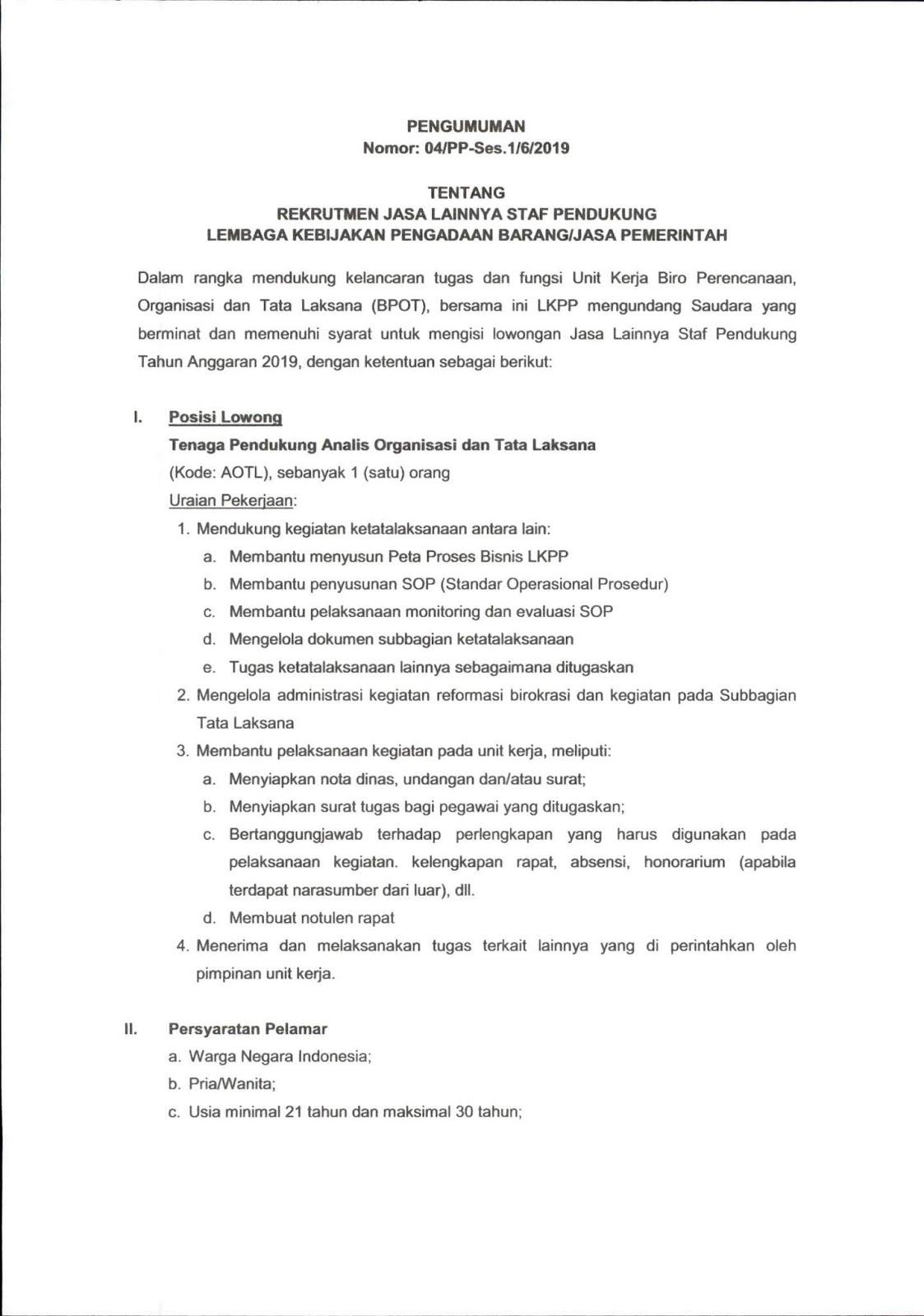 Penerimaan Pegawai Non PNS Staf Pendukung LKPP Hingga 19 Juli 2019