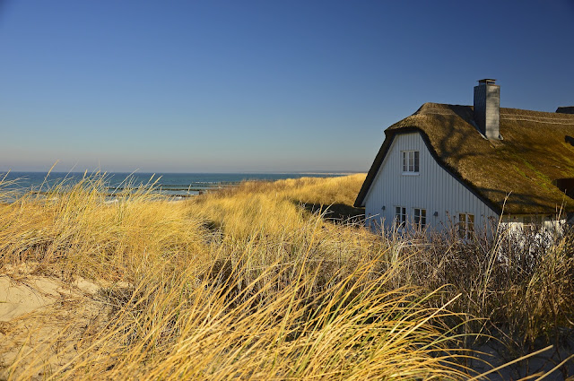 thatched cottage by the sea
