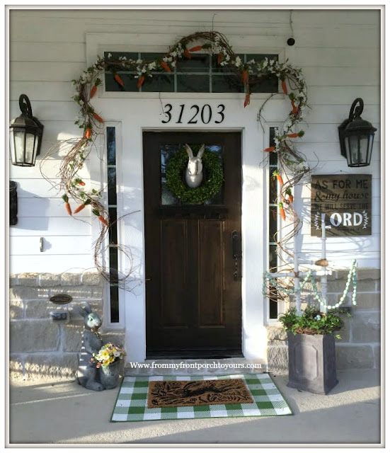 Early Spring Front Porch-Buffalo Check Rug-Carrot Garland-Bunny Wreath-From My Front Porch To Yours