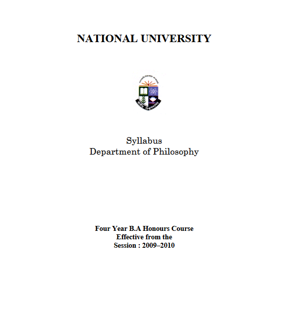 Bachelor of Arts (Honours) Syllabus Philosophy h1