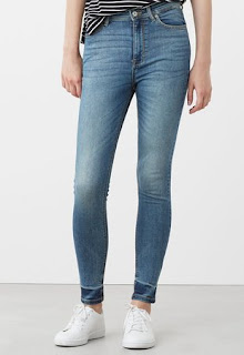 Jeansi skinny albastri cu talie inalta