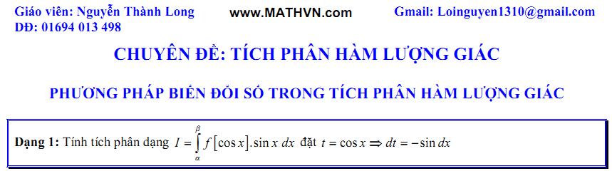Tich phan ham luong giac, on thi dai hoc 2011