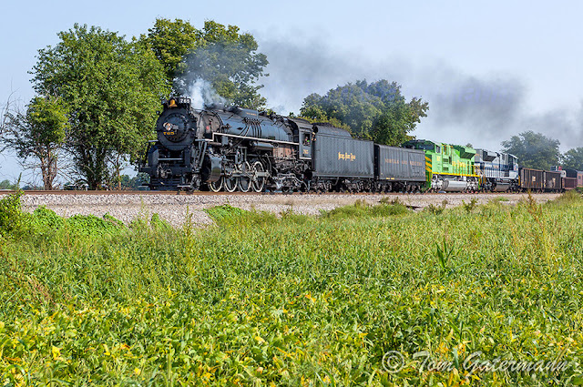NKP 765, with NS 1072 and NS 1070 lead train O99 at Palmer, IL.