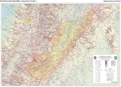 Mapa da Colômbia - Departamento de Huila