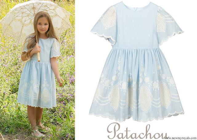 Princess Estelle wore Patachou Blue Embroidered Dress