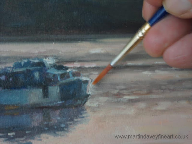 WIp of boat in marine river setting oil painting.