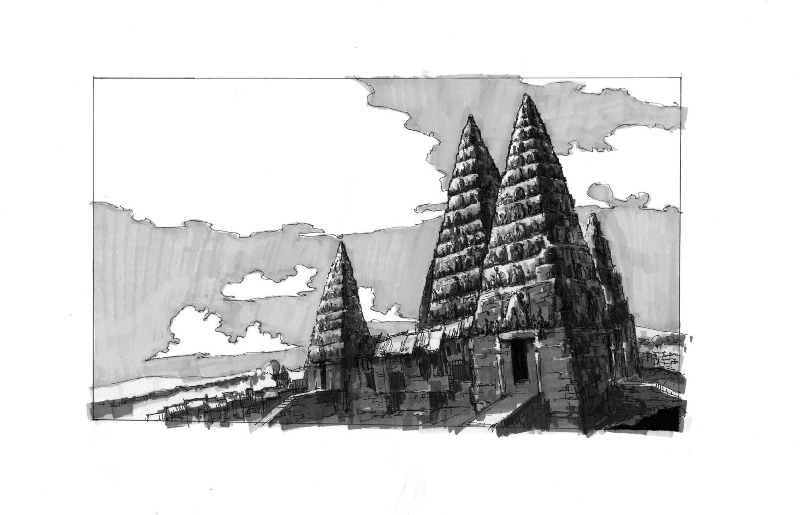 This is a graphic of Genius Angkor Wat Drawing