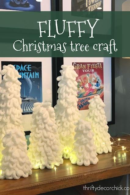Fluffy yarn Christmas trees in cream