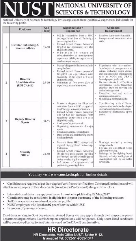 NUST jobs  in National University Of Science And Technology Islamabad   16 may 2017