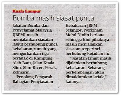 Bomba masih siasat punca - Keratan akhbar Harian Metro 21 Ogos 2019