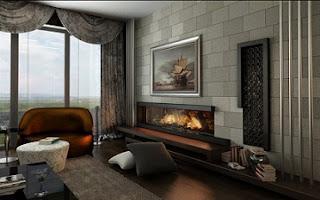 moderna chimenea en sala