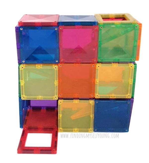 Ball run tower made from connetix tiles