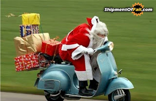 santa delivering presents by motorbike