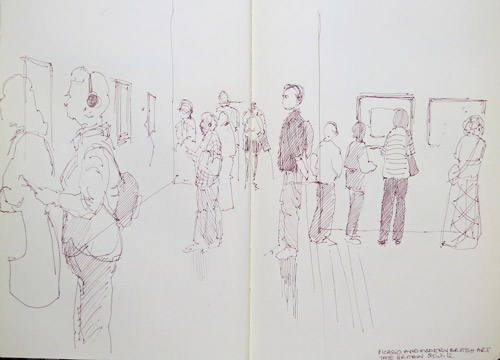 Visitors to the picasso and modern british art exhibition at tate britain 1 pen and sepia ink and coloured pencils in moleskine sketchbook 11 x 16