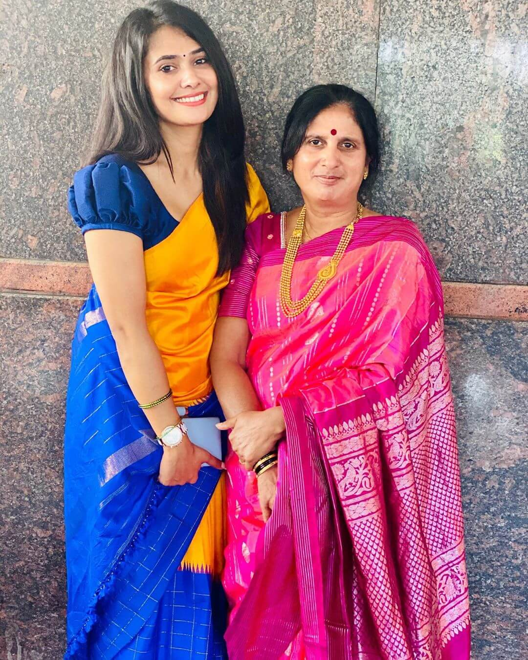 Kavya Gowda with her mother