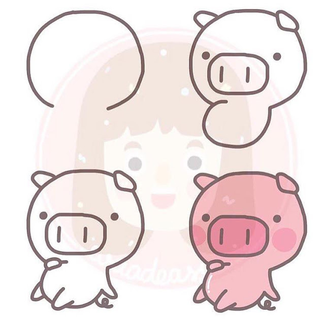 Cara menggambar babi untuk anak-anak