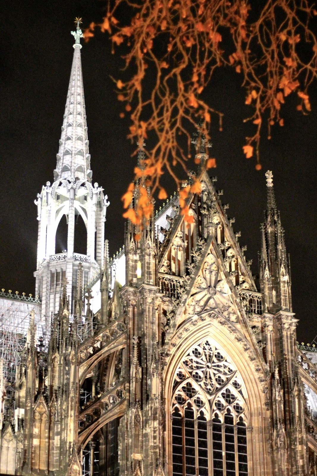 Christmas market Cologne Cathedral by night