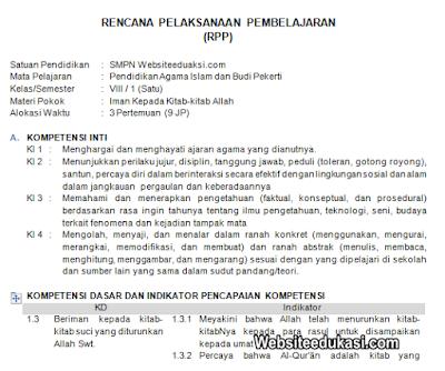RPP PAI Kelas 8 Semester 1 Kurikulum 2013 Revisi 2019