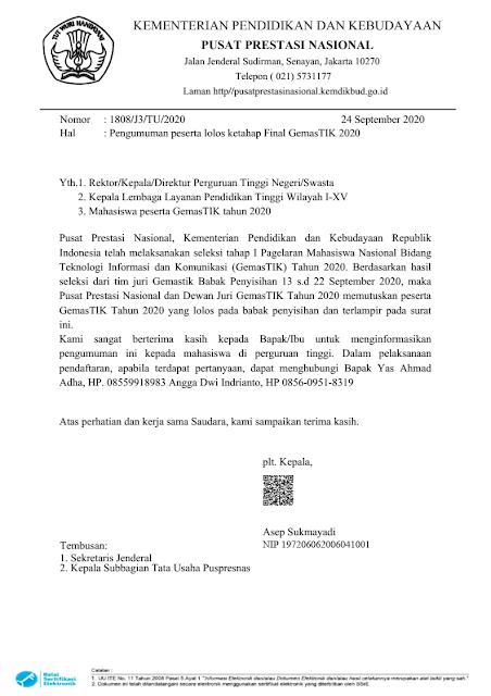 hasil seleksi tahap 1 finalis gemastik tahun 2020 pdf tomatalikuang.com