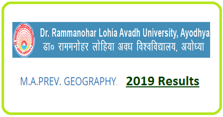 RMLAU MA Geography Previous Result 2019