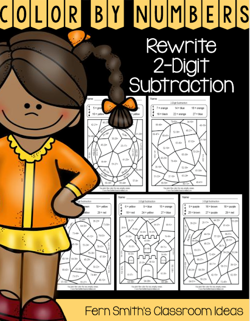 Are you working on the multiple ways to write subtraction problems with second graders? This blog post has some tips, resources and lessons to help you introduce and reinforce rewriting 2-digit subtraction problems. Fern Smith's Classroom Ideas