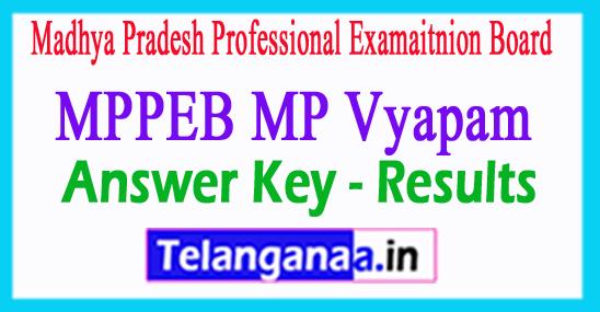MP Vyapam SE Answer Key 2018 MPPEB MP Vyapam SE Exam Result 2018