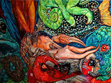 crawfish, hurricane, rita, katrina, louisiana, cajun, gulf of mexico, oil painting, Melissa Sarat painting, parrot, chameleon, frog, turtle, mardi gras, masks, fish, ocean, monkey, carnival, goddess, robin eggs, bird nest, water, storm painting, water painting, goddess painting, mardi gras painting, frog art, frog painting, south louisiana, LSU, parrot art, turtle art, celebration art, environmental, global warming