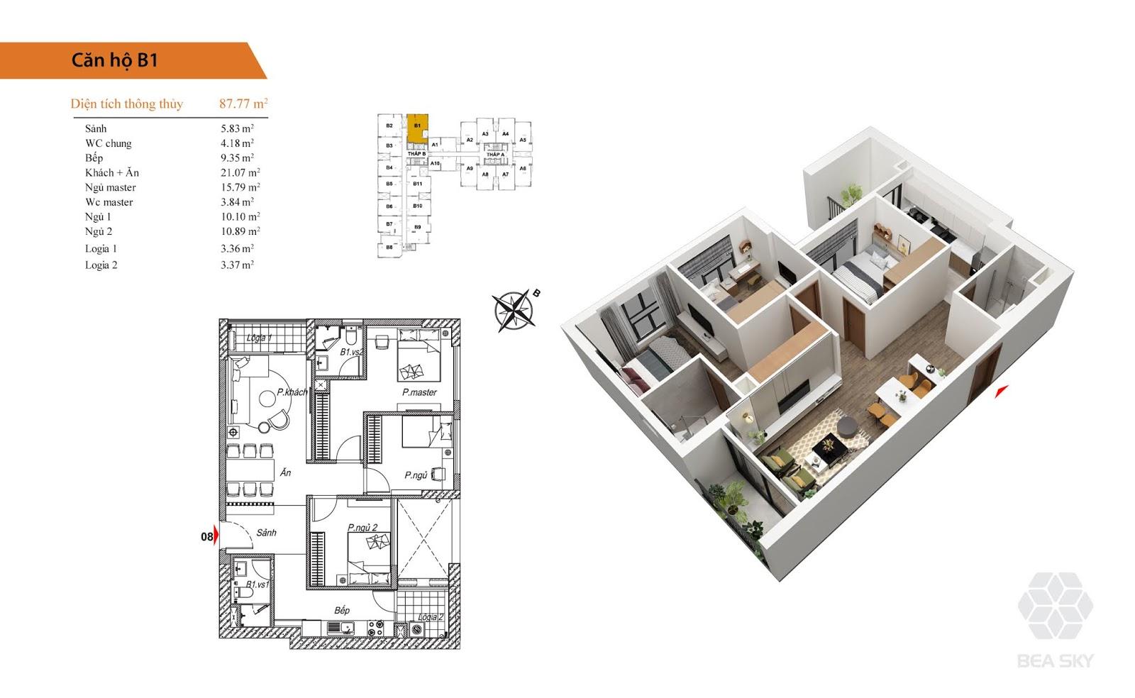 Thiết kế căn B1 chung cư Bea sky nguyễn xiển