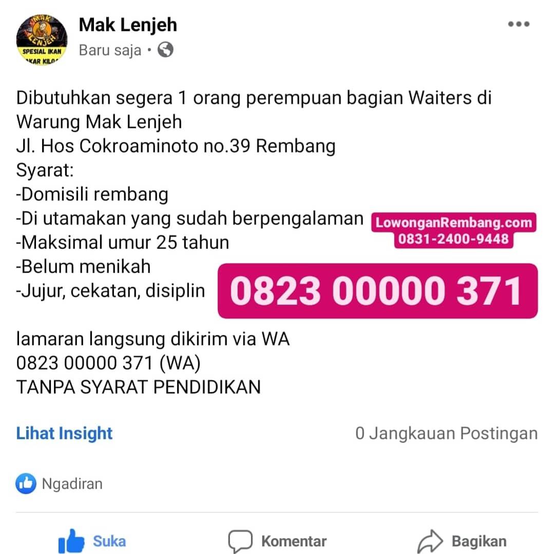 BUTUH CEPAT Untuk Lowongan Kerja Waiters Warung Mak Lenjeh Rembang Tanpa Syarat Pendidikan Cukup Chat WhatsApp