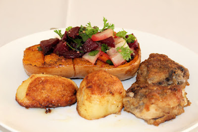 roasted butternut with beetroot, roast chicken and potatoes