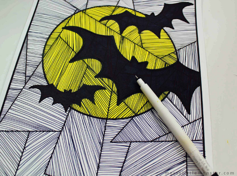 Bat colouring page for kids