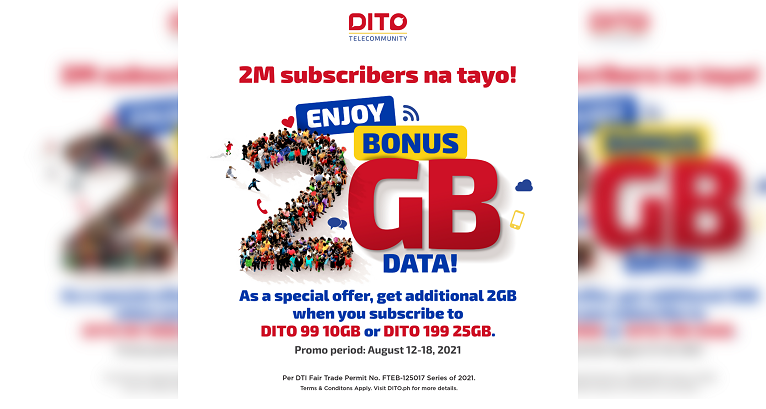 Get 2GB FREE data when you avail of DITO's 25GB for 199 and 10GB for 99 promos!