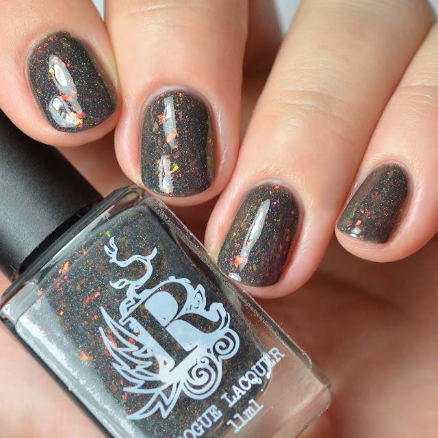 charcoal nail polish with color shifting flakies