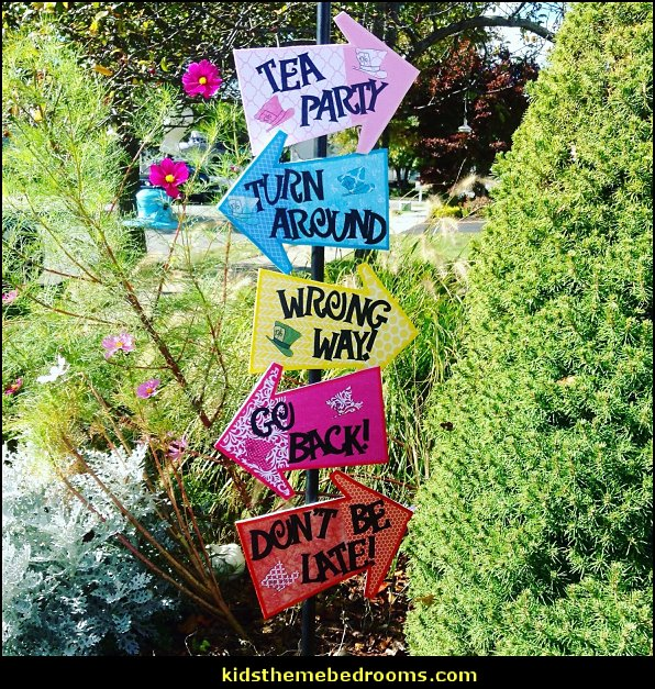 Mad Hatter Tea Party Decorations Alice in Wonderland Arrow Signs