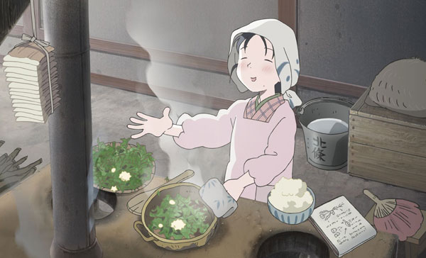 Suzu (voiced by Rena Nounen) has her ways of improvising the limited food supply in IN THIS CORNER OF THE WORLD (2017)