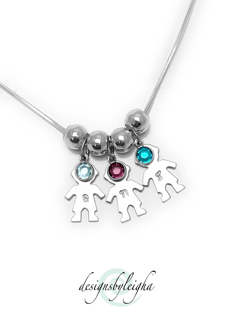 3 Boy Necklace with Initials and Birthstones at www.DesignsByLeigha.com