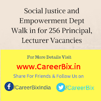 Social Justice and Empowerment Dept Walk in for 256 Principal, Lecturer Vacancies