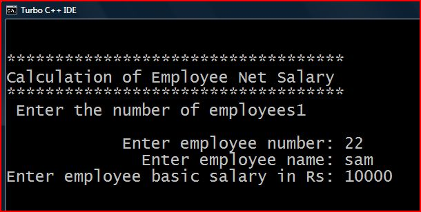 C++ PROGRAMS: C++ PROGRAM TO CALCULATE EMPLOYEE NET SALARY
