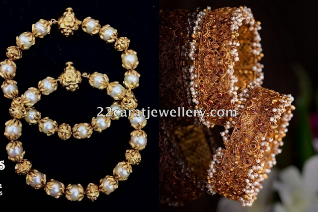 Pearls and Lakshmi Bangles