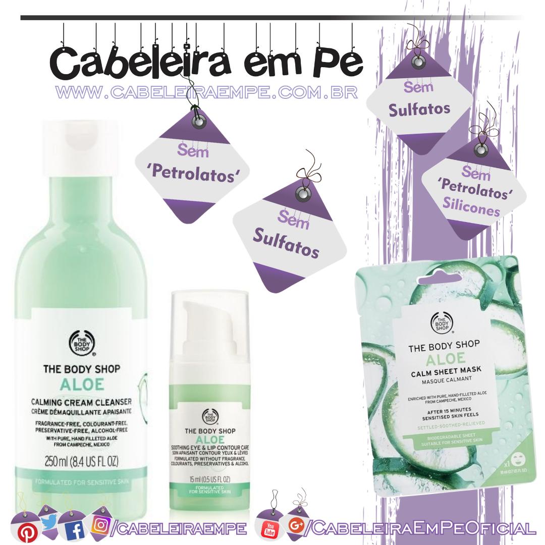 Creme de Limpeza, Máscara e Loção Calmante para olhos e lábios Aloe Vera - The Body Shop