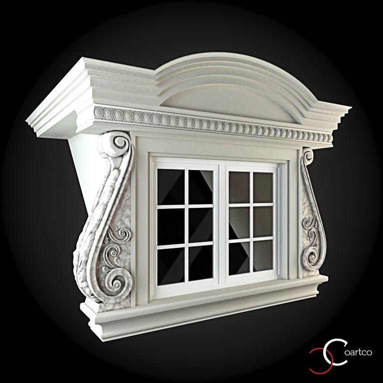 Ornamente Geamuri Exterior, fatade case cu profile decorative polistiren, profile fatada,  Model Cod: WIN-099
