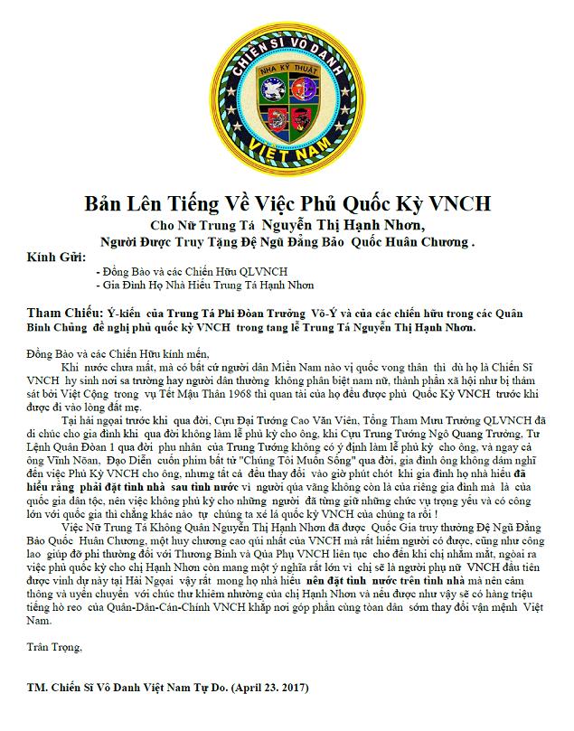 Bản Lên Tiếng Về Việc Phủ Quốc Kỳ VNCH Cho Nữ Trung Tá Nguyễn Thị Hạnh Nhơn