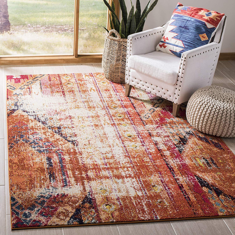 "Modern Bohemian Distressed Area Rug, 5'1"" x 7'7"", Orange/Multi"