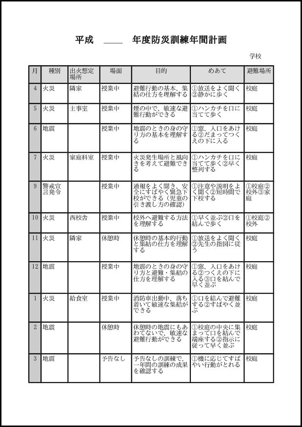 防災訓練年間計画 013
