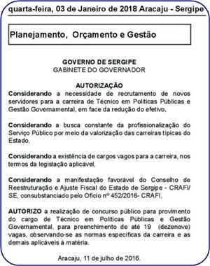 Edital Concurso Prefeitura de Aracaju 2018
