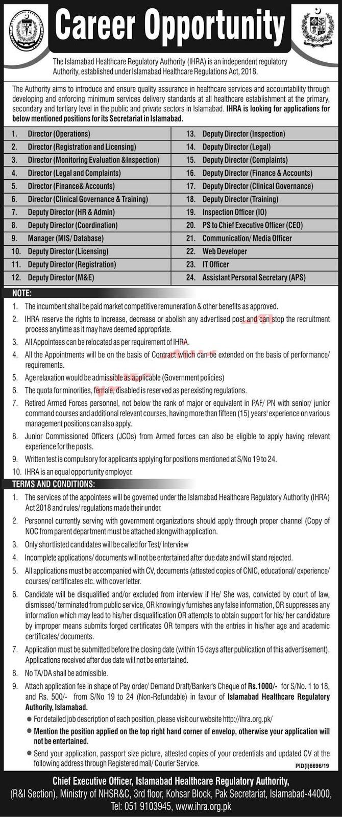 Jobs in Islamabad Healthcare Regulatory Authority (IHRA) June 2020