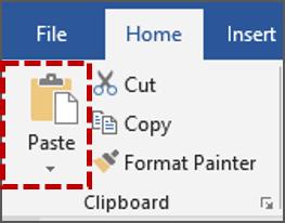 Klik tab Home, di grup Clipboard, klik Paste.